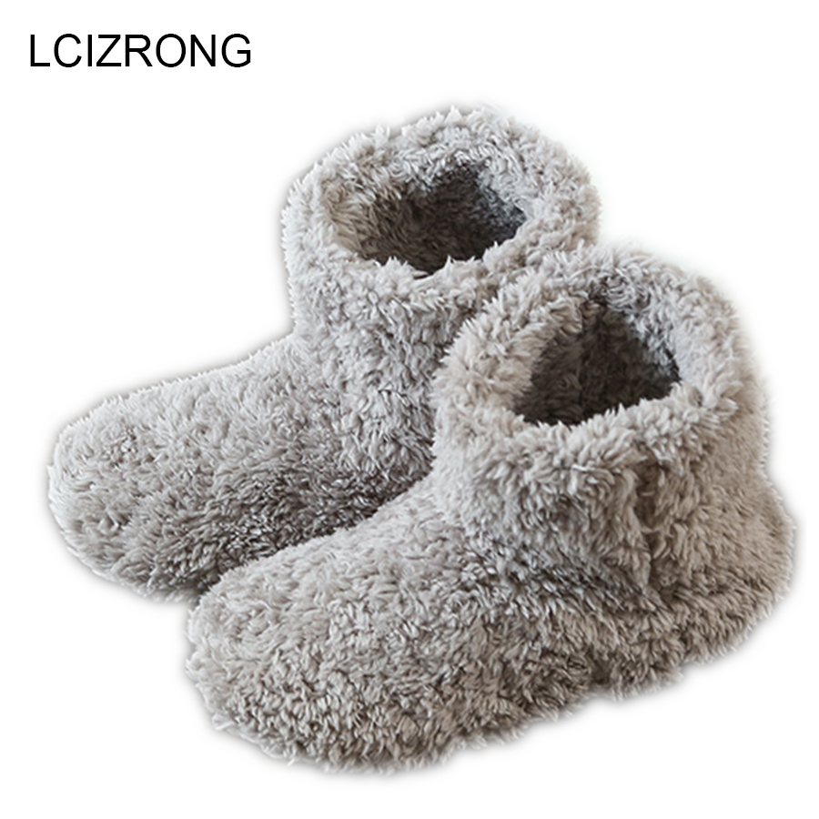 LCIZRONG Winter Warm Women Home Boots Soft Plush Shoe Luxury Ankle Boots Indoor Lovers Cotton Warm Footwear Floor Shoes