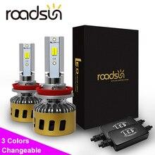 Roadsun H4 ĐÈN Pha LED H1 H7 H11 HB3 HB4 H8 LED cho Xe Hơi 3 Nhiệt Độ Màu Có Thể Thay Đổi 3000K 4300K 6000K Tự Động Bóng Đèn