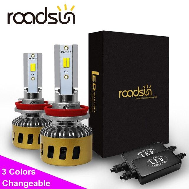 Roadsun lâmpada led para farol, h1, h7, h11, hb3, hb4, h8, três cores, alterável, 3000k lâmpada automática 4300k 6000k