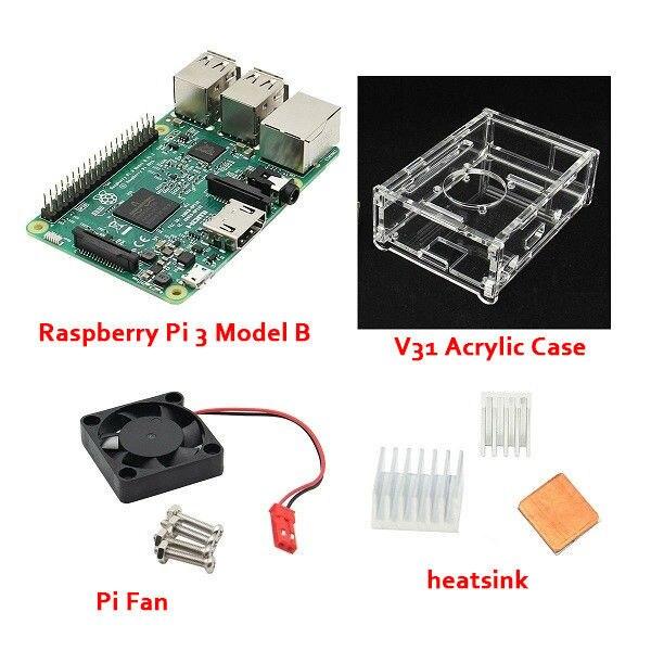 4 В 1 Raspberry Pi 3 Модель B + V31 акриловые Случае + Pi Вентилятор + Алюминиевый Радиатор Набор Бесплатно доставка