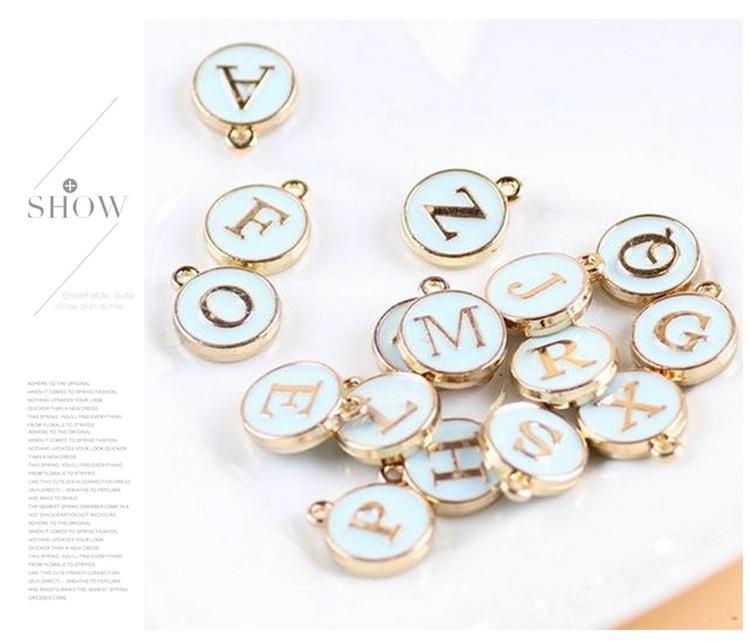 10pcs/26pcs  Alphabet Letter Double Face Enamel Charms  Gold color 41*24mm pendants jewelry making Handmade craft 3