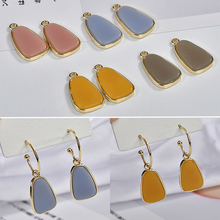 Spring and summer Alloy resin sweet jelly-colored trapezoid pendant DIY earring material accessories