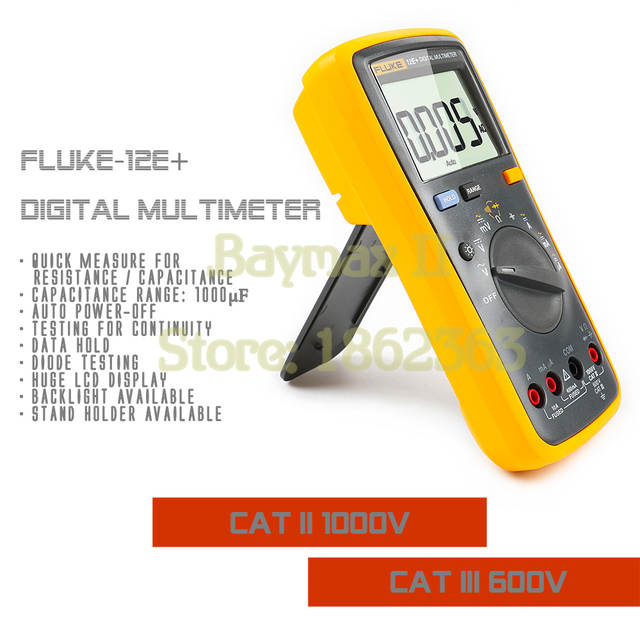 US $77 49 59% OFF|Fluke 12E+ Auto Range Digital Multimeter AC/DC Voltage  Current Tester with Ohm, Capacitance, Resistance Measurement & Carry Bag-in