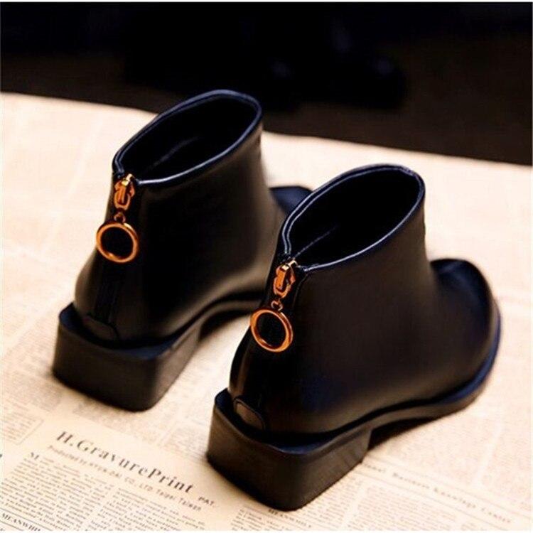 Tacón Redonda Invierno Moda Martin Cuadrado Chelsea Botas Punta Negro Mujer Zapatos De Con Sólido Bajo Casual yPSq7SwY