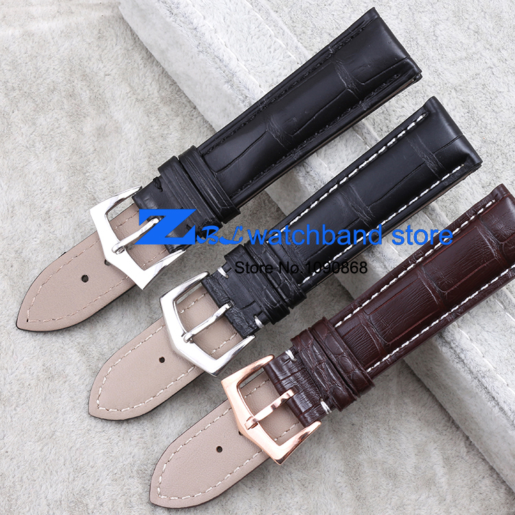 crocodile leather strap with  rose gold buckle Wrist watch strap watchband 22mm 20mm 18mm wristwatches band  high-grade hot sale genuine leather watchband watch strap with crocodile pattern different colors in size 18mm 20mm 22mm