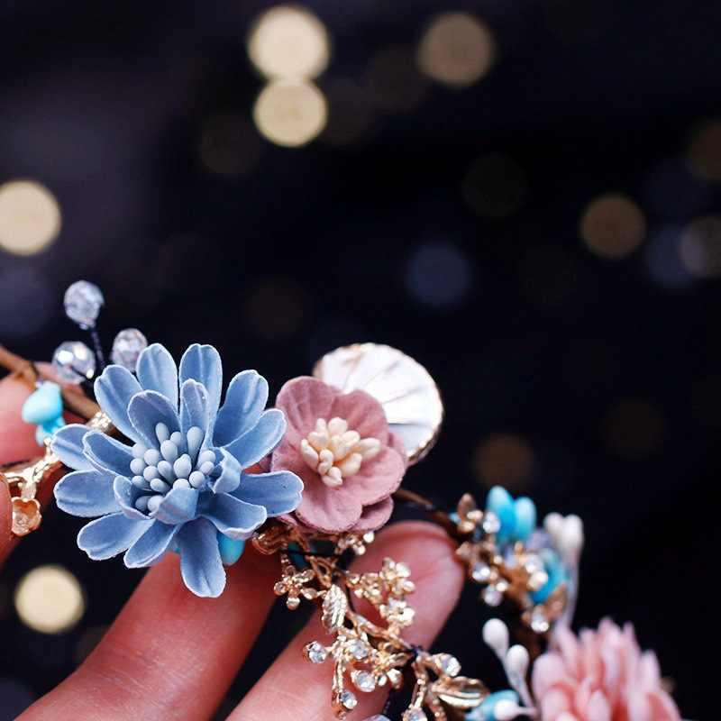 Handmade งานแต่งงานเครื่องประดับผมมงกุฎป่าสไตล์ Seaside PARTY หมั้นอุปกรณ์เสริมผมสำหรับเจ้าสาวลูกปัดดอกไม้เส้นด้ายของขวัญ