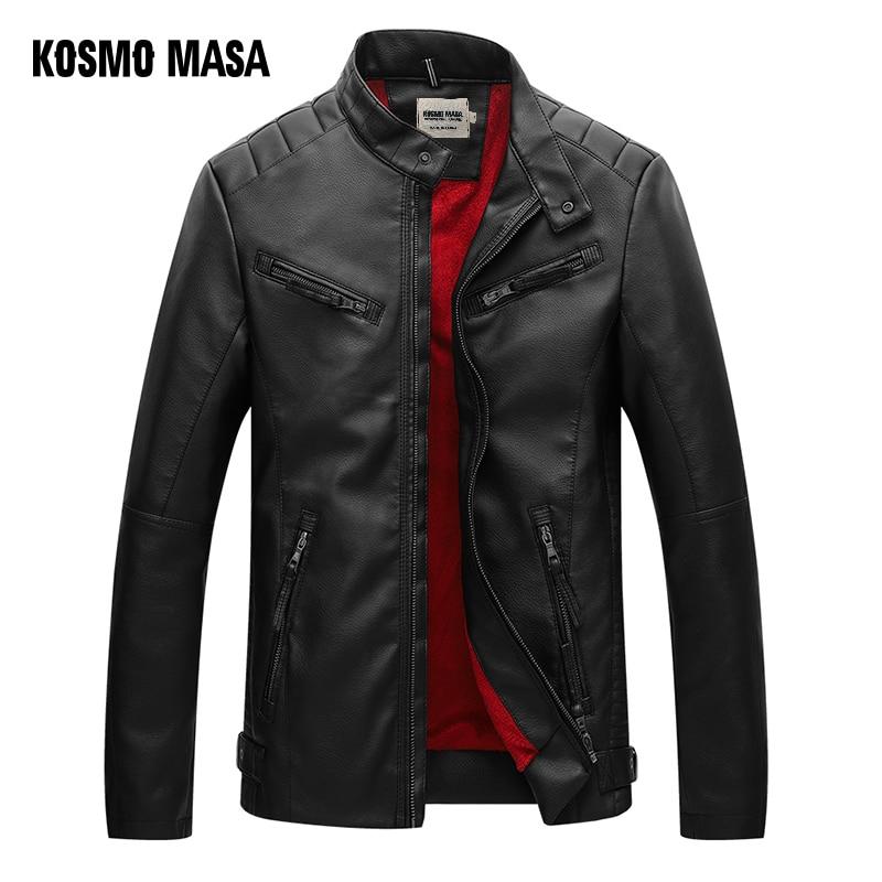 GLO STORY 2018 Winter Leather Jacket Men Casual Streetwear Wool Lined Mandarin Collar Motor Biker Bomber