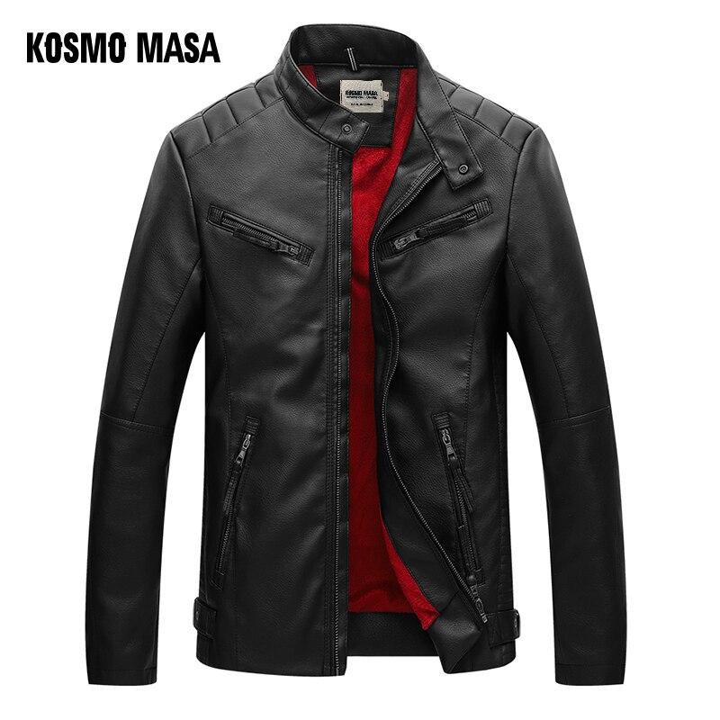 KOSMO MASA Zwarte Motorfiets Casual Faux Leather Jacket voor Mannen Herfst Winter Pilot Pu Mannelijke Lederen Jas Grote Maten MF020-in Kunstleerjassen van Mannenkleding op  Groep 1