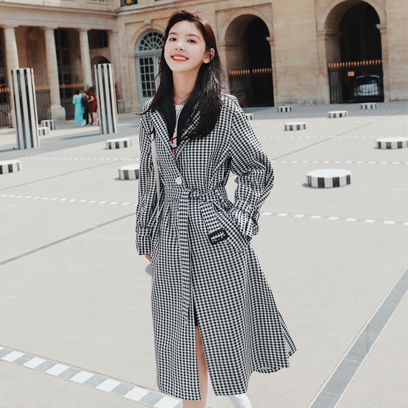 Medium-And Long-Style Trench Coat For Women Crossing Knees New Loose And Thin Plaid Coat For Spring And Autumn 2019