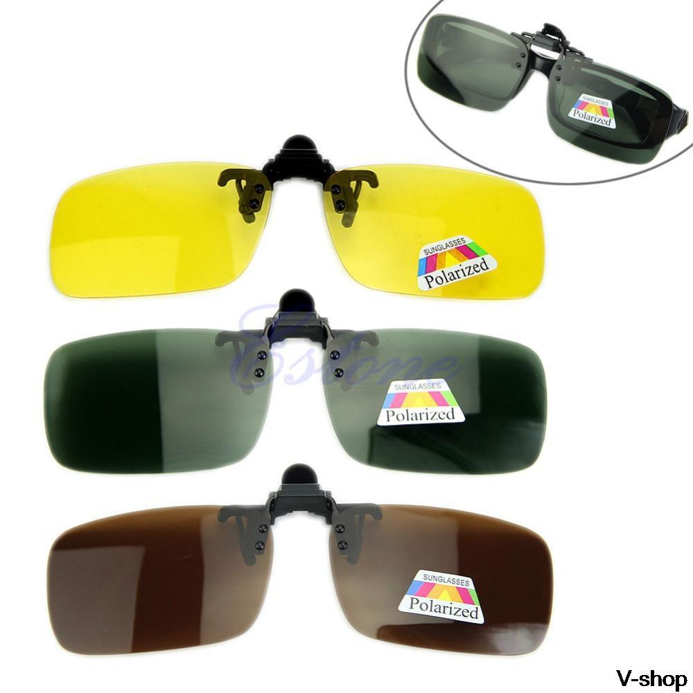 Hot Clip-on Flip-up Lens <font><b>Polarized</b></font> Day Night Vision Sunglasses Driving <font><b>Glasses</b></font> S,<font><b>M</b></font>,L