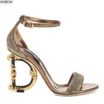 b93f0020d6f5d Yüksek Topuklu Yaz Sandalet Kadın Ayakkabı 2019 marka lüks Tasarımcı Bayan  Deri Düğün Sandalet Ayakkabı Kadın pompaları D topuk G topuk