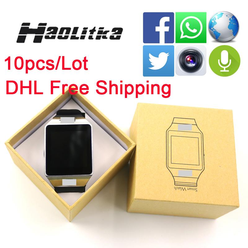 Prix pour 10 pcs/lot dhl gratuite dz09 buletooth smart watch avec caméra smartwatch soutien sim/tf carte multi-langue pour android téléphone