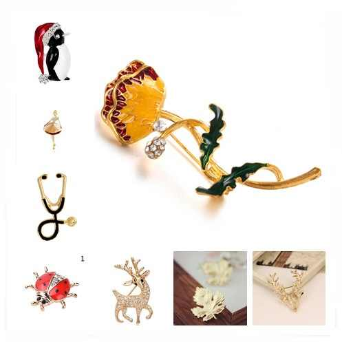 09bebe0d5 Enamel Crystal Flower Animal Brooch Sika Deer Ladybug Cat Girl Leaf Pin For  Women Girl Scarf