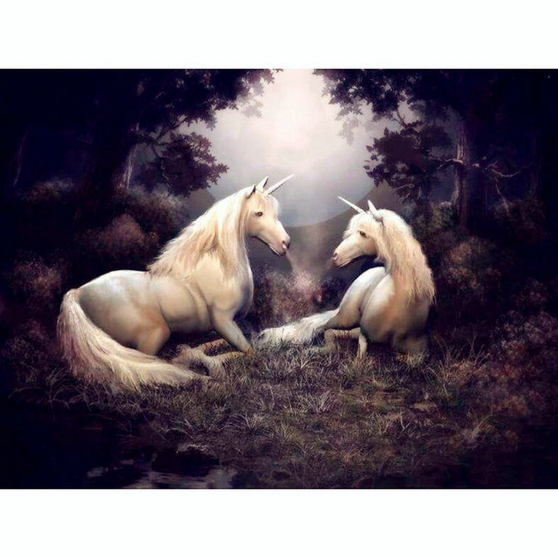 Hot 5d diy diamond painting unicorn horse square 3D diamond painting cross stitch animal needlework art mosaic christmas gift
