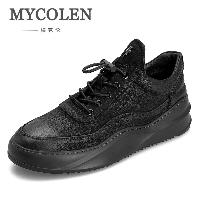MYCOLEN New Autumn Winter British Black Men Shoes Leather Shoes Breathable Sneaker Fashion Men Casual Shoes Zapatos Hombres 2017 fashion red black white men new fashion casual flat sneaker shoes leather breathable men lightweight comfortable ee 20
