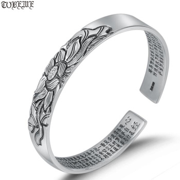 100% 999 Siver Lotus Bangle Real Pure Silver The Buddhist Heart Sutra Bangle Silver Lotus Lady's Bangle фото