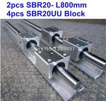2pcs SBR20 L800mm linear guide + 4pcs SBR20UU block cnc router 1pcs sbr20uu sbr20 20mm sbr uu linear ball bearing block cnc router