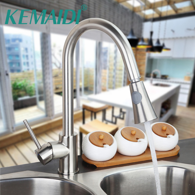 KEMAIDI Kitchen Kitchen Faucet Solid Brass Hot Cold Water Tap Single Hole torneira Pull out Dual