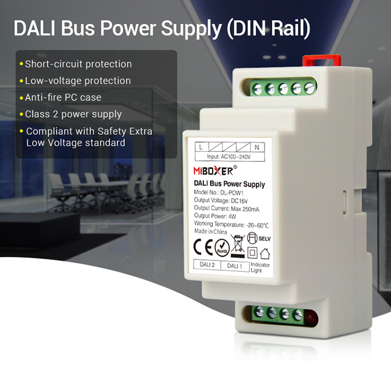 Miboxer DL-POW1 DC16V DIN Rail DALI Bus Power Supply 4W Max250mA Led Transformer For AC 110V 220V DALI RGB CCT Led Downlight