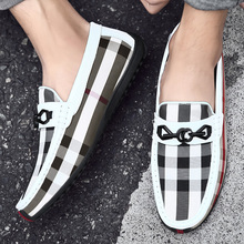 19 New British Style Men Shoes Summer Lattice Loafers Flats Handmade Casual Soft Walking Slip-on