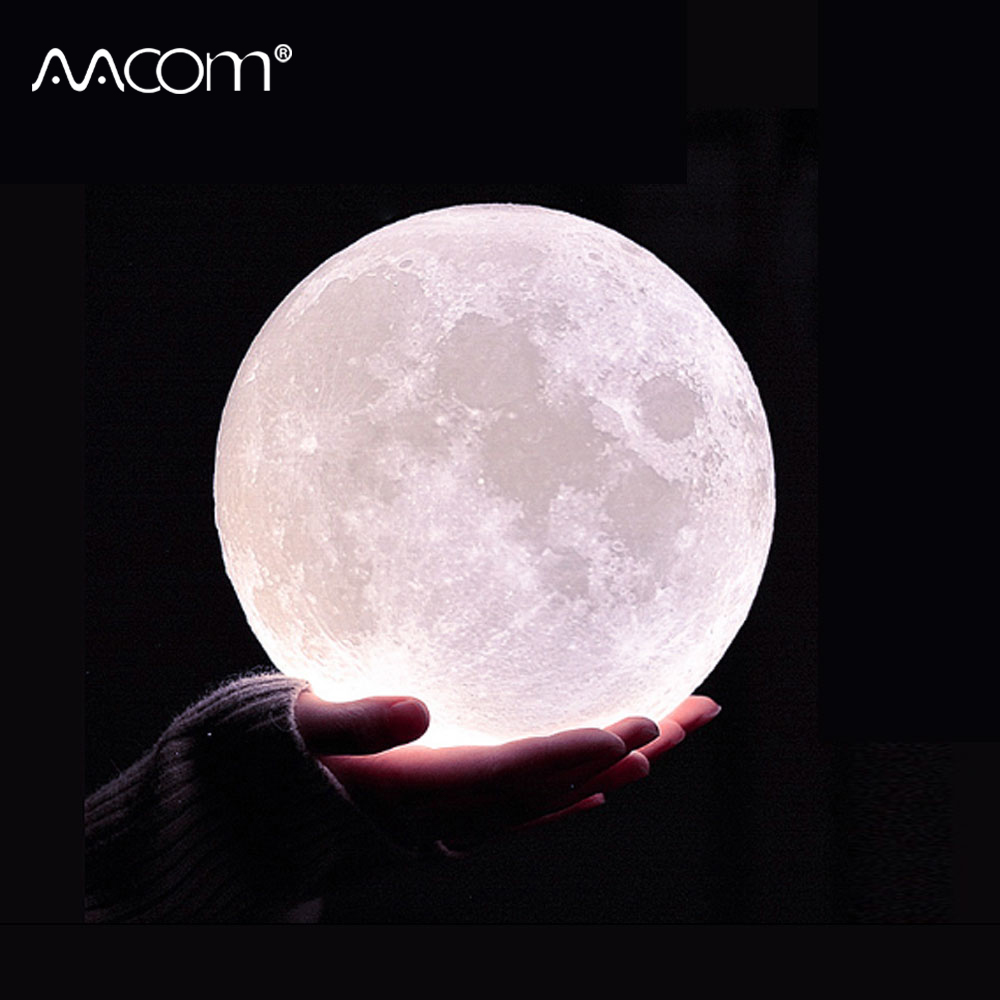 3D Print LED Moon Lamp USB Charged Touch Sensor & 24 Key RGBW IR Remote Control 10 Levels Dimmable Moon Night Light