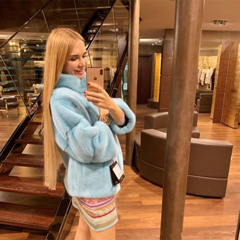 FURSARCAR Luxury Genuine Fur Women Fog Blue Mink Fur Coat 2019 New Fashion Outwear Slim Short Natrual Mink With Collar Customize