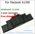 "95wh v-bloqueo / 8440 mAh batería del ordenador portátil para Macbook A1398 para apple ME293 ME294 para Macbook Pro 15 "" A1398 Retina"