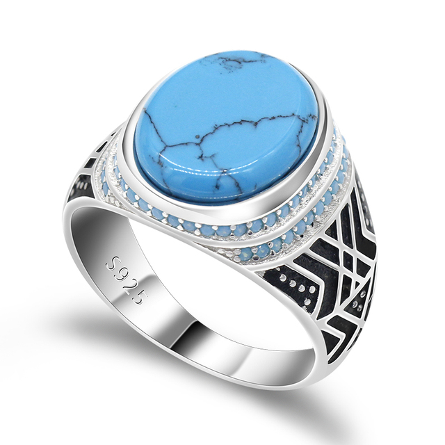 Мужские ювелирные изделия, турецкое кольцо с морской синей трещинкой, бирюзовый большой плоский камень, маленькие бирюзовые камни, 925 пробы Серебряное кольцо для мужчин