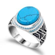 Mannen Sieraden Turkse Ring met Sea Blue Crack Turquoise Grote Platte Steen Kleine Turquoise Stenen 925 Sterling Zilveren Ring voor mannen
