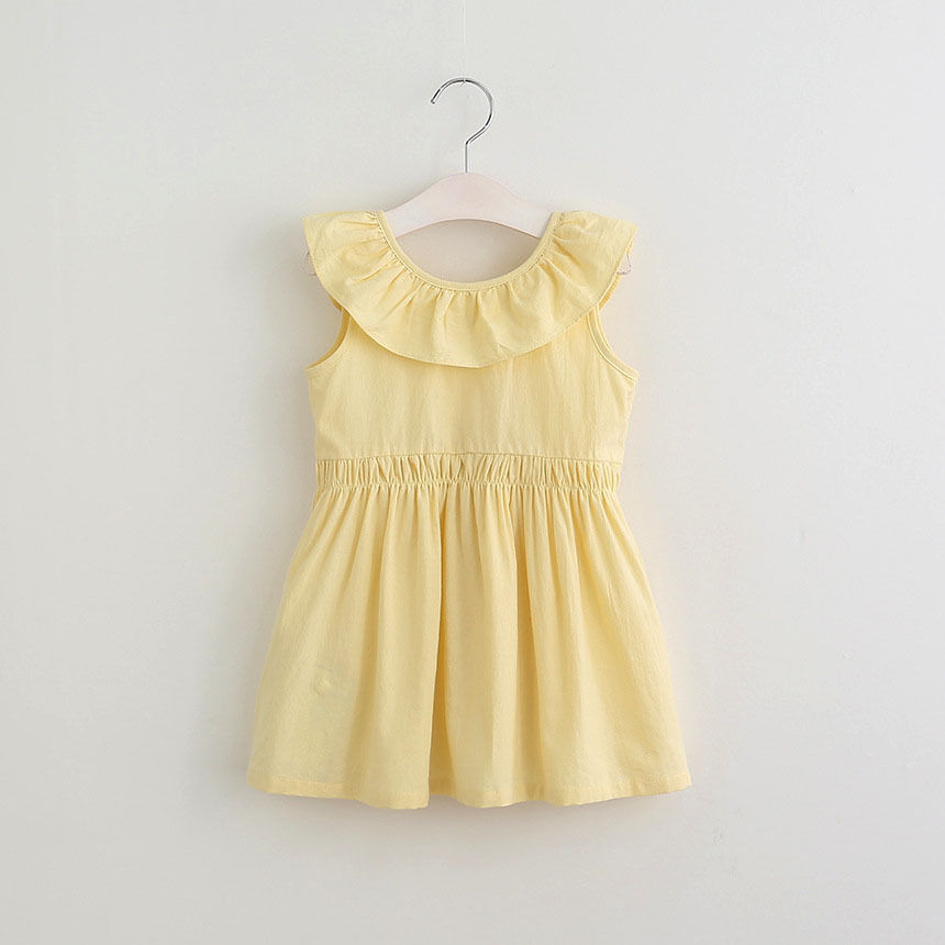 2017 Summer Toddler Kids Baby Girls Dress Ruffles Collar Children Cotton Clothes Solid Color Cute Princess Girl Party Dress 2017 summer girls clothes blue stripe dress for girls kids ruffles dress headband korean children dress new cotton kids wear