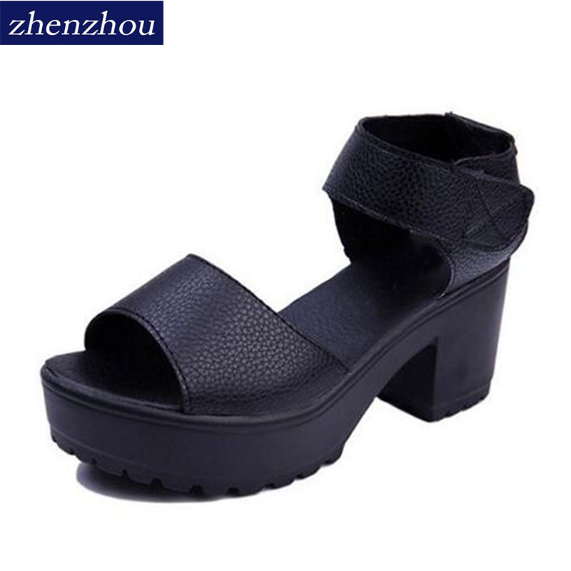 ZHENZHOU Woman Shoe 2018 summer woman sandal high-heeled shoes thick heel open toe platform sandals platform white 2017 new summer pep toe woman sandals platform thick heel summer women shoes hook