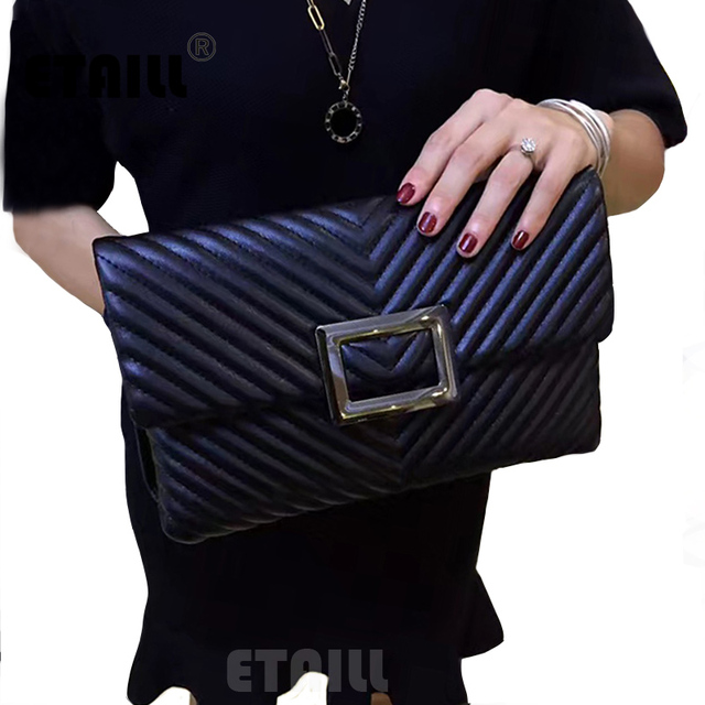 V Form Diamond Lattice Black Quilted Chain Clutch Bag Leather Fashion Envelope Bag Famous Brand Plaid Shoulder Crossbody Bag