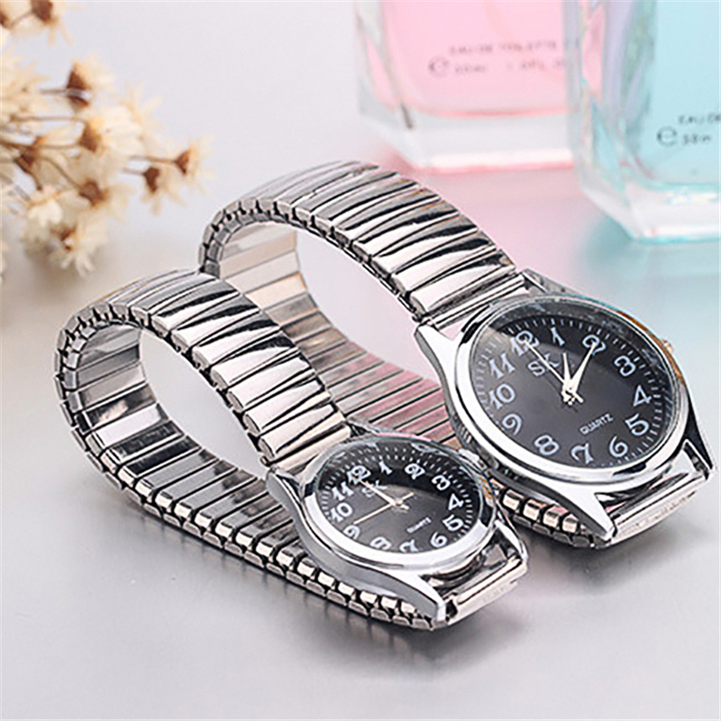 Men/Women Fashion Casual Quartz Watch Stainless Steel Contains Elastic Strap Design Adjustable Fashion Wristwatch