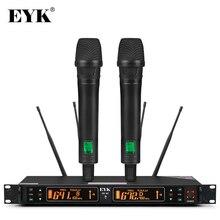 EYK EU 62 גיוון אמיתי 2 כף יד UHF מיקרופון אלחוטי 2*100 ערוץ לבחירה תדר מושלם עבור שלב קונצרט ווקאלי