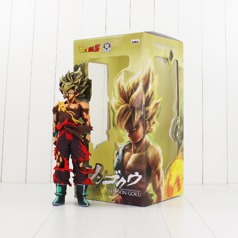 34cm Huge Son Goku Battle Damaged Figure Toy Banpresto Dragon Ball Z Gokou Super Saiyan Model Doll 16cm anime dragon ball z goku action figure son gokou shfiguarts super saiyan god resurrection f model doll