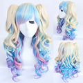 Lolita 65cm Gold Blue Purple Pink Mix Wave Long Cosplay Costume Wig