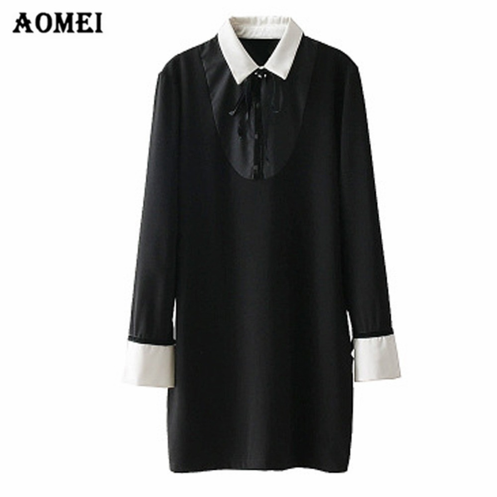 Women Dress Long Sleeve Contrast Color Office Ladies Fashion Dresses With Bowtie Casual Robes For Spring Summer Fashion 2019 New