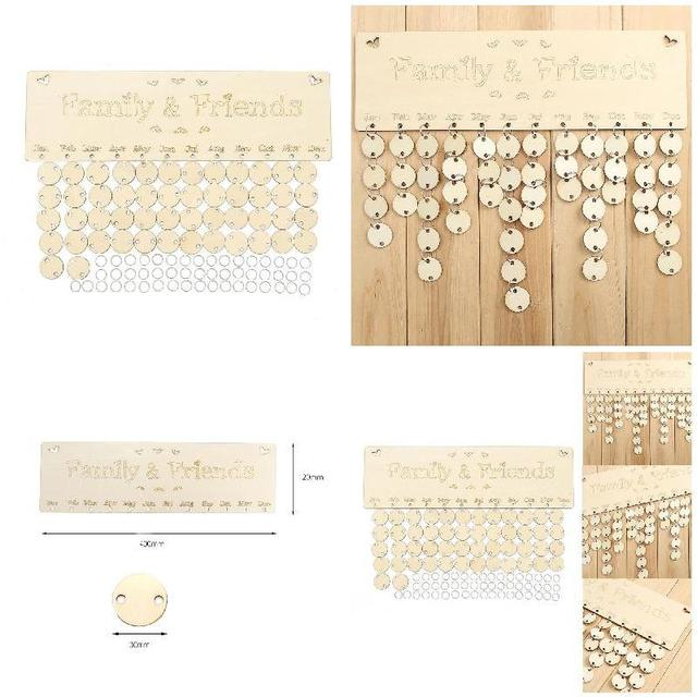 Fashion DIY Calendar Tags Home Hanging Decoration Wooden Sign Board