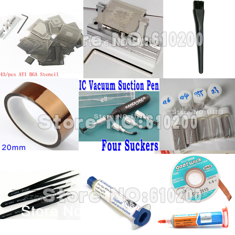43pcs/set ATI Chip Direct heating BGA stencil BGA templates Bga Reballing Stencil Kit set Paste flux+solder paste+soldering wick 3d ic chip bga reballing stencil kits set solder template for iphone a8 a9 a10 high quality