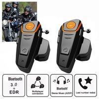 2PCS BT S2 motorcycle helmet headset intercom moto wireless bluetooth waterproof interphone with FM soft microphone