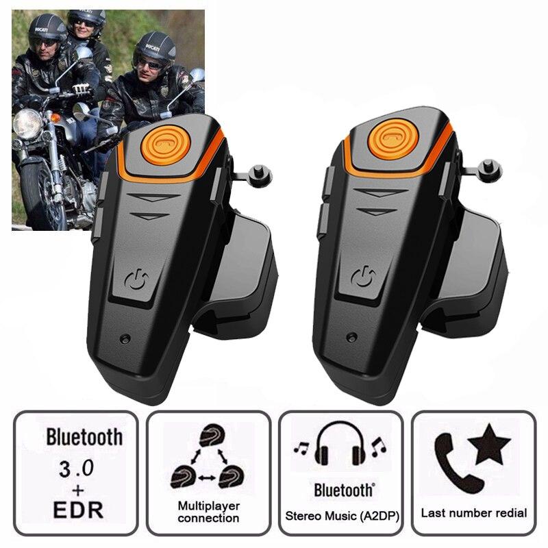 2PCS BT-S2 Motorcycle Helmet Headset Intercom Moto Wireless Bluetooth Waterproof Interphone With FM Soft Microphone