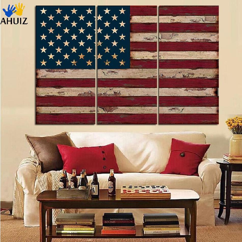 f179e2f3f82 3 Panel American USA United States of America Flag Canvas Wall Art Print On canvas  painting