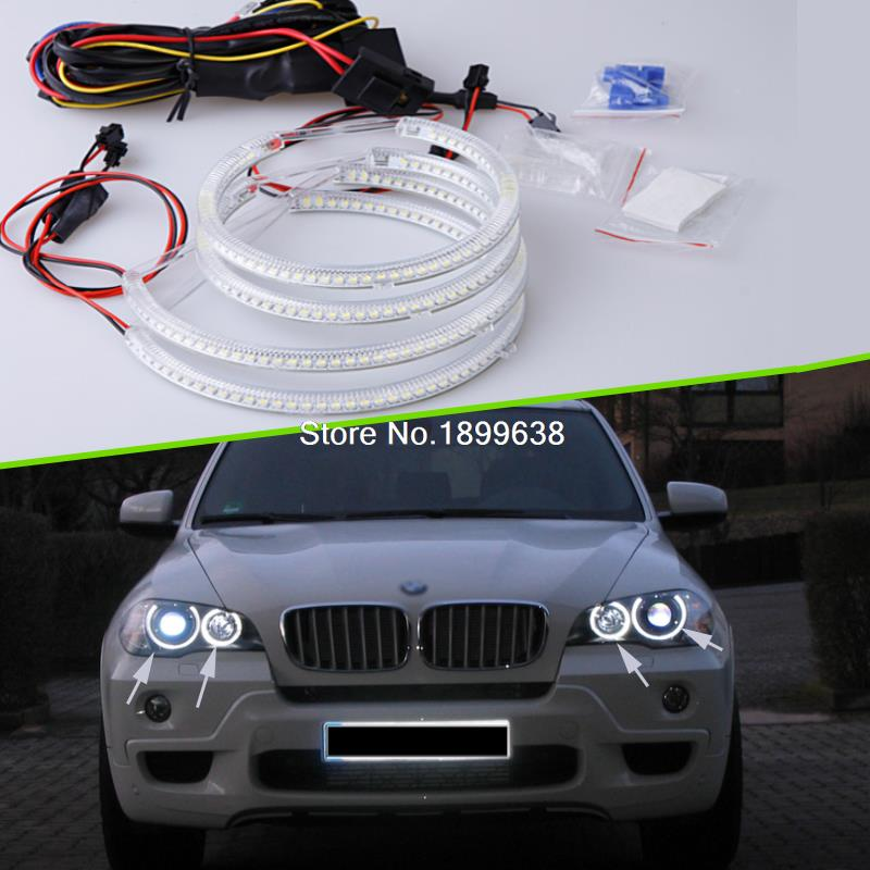 Super bright 7000K white 3528 smd led angel eyes halo rings car styling For BMW E53 X5 1999 2000 2001 2002 2003 2004 18pcs canbus error free led foot footwell interior lights package kits for bmw x5 e53 m 2000 2001 2002 2003 2004 2005 2006