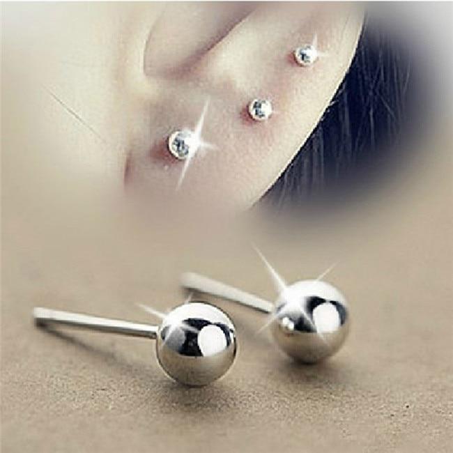 SHUANGR Wholesale Trendy Silver Color Earrings Bijoux Fashion 3-5mm Small Bead Stud Earrings For Women Fine Jewelry