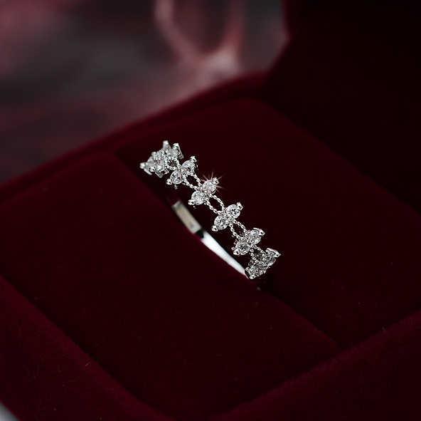 คริสตัล Zircon ขนาดเล็กหินแหวนหญิงสาวเงินทองสีงานแต่งงานเครื่องประดับแหวนหมั้นสำหรับสุภาพสตรี