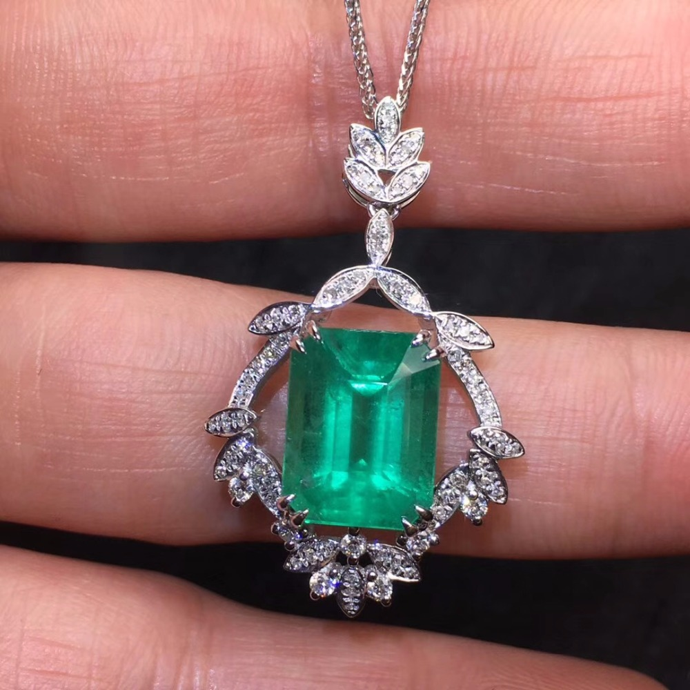 Fine Jewelry Real Pure 18 K White Gold AU750 100% Natural Emerald Gemstones 4.61ct Females Pendants for Women Fine NecklacesFine Jewelry Real Pure 18 K White Gold AU750 100% Natural Emerald Gemstones 4.61ct Females Pendants for Women Fine Necklaces
