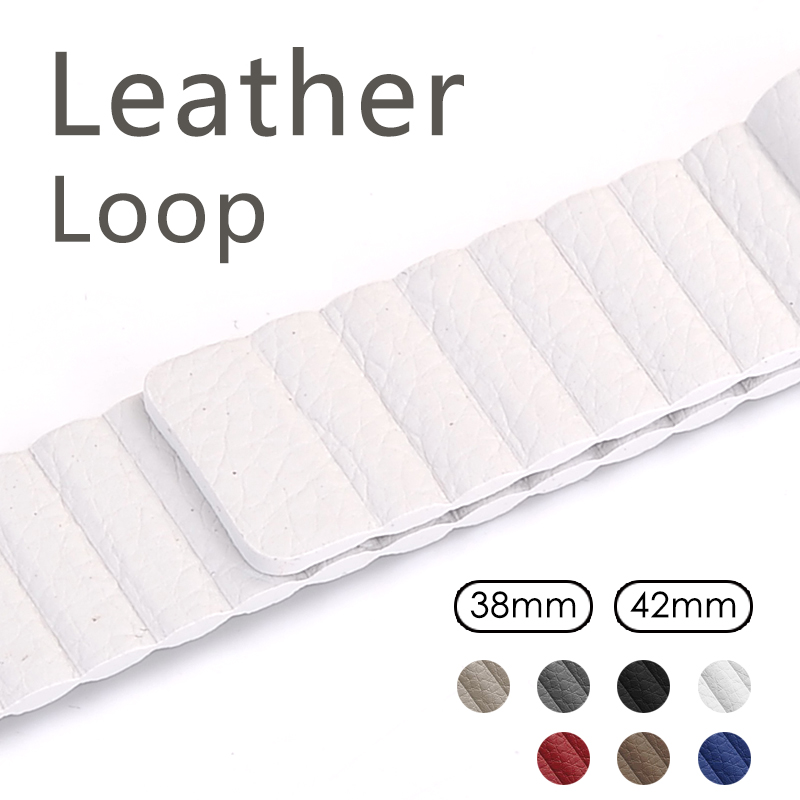 Leather loop for apple watch series 2 3 band for iwatch comfortable feel soft leather strap with magnet buckle polar loop 2 pink