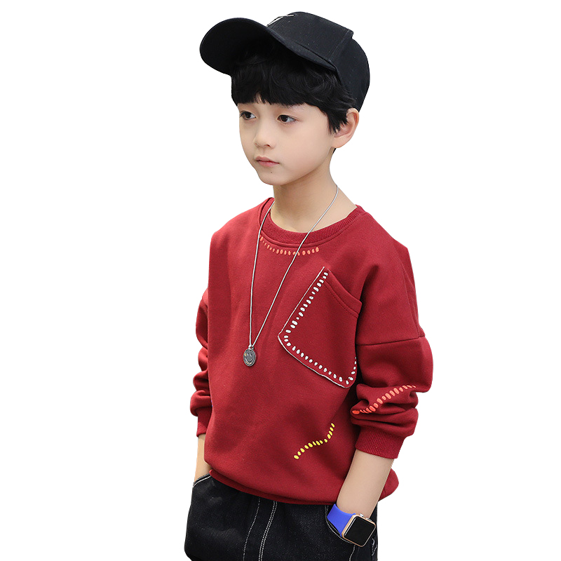 kids winter clothes long-sleeve t-shirt school style thick warm tee shirts casual tops age 4-14 boys tee shirt children clothing boys tee