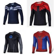 Super Heroes Длинным Рукавом Футболки Железный Человек Человек-Паук Зеленый фонарь Капитан Америка Черный Адам Вспышки Супермен X-men T рубашки