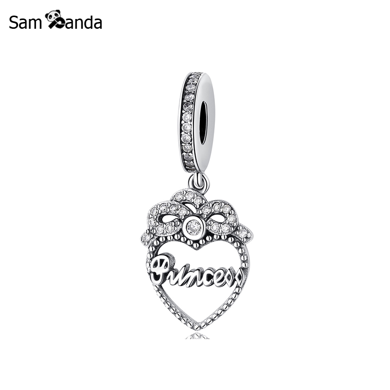 Authentic 925 Sterling Silver Bead Charm Princess Crown Heart Dangle Charms Pendant Fit Pandora Bracelets Women Diy Jewelry